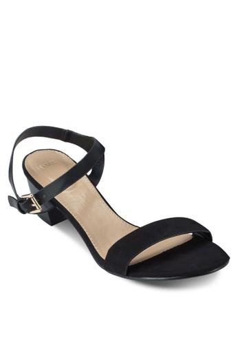 一字帶粗跟繞踝涼鞋,zalora taiwan 時尚購物網 女鞋, 中跟