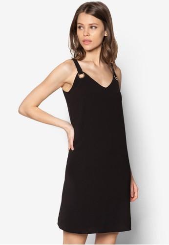 黑色金屬環zalora 折扣碼細肩帶洋裝, 服飾, 洋裝