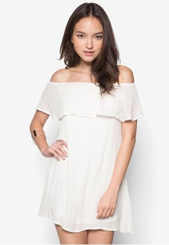 荷葉層次露肩連身zalora開箱裙, 服飾, 洋裝