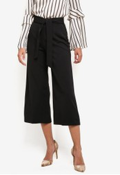 Miss Selfridge black Black Crop Wide Leg Trousers MI665AA0SAC2MY_1