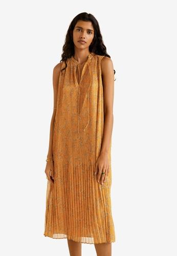 Mango 褐色 Printed Pleated Dress 280CDAAA901676GS_1