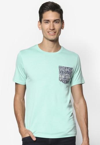 Chambray 印花貼合口袋圓領短袖TEesprit地址E, 服飾, 素色T恤