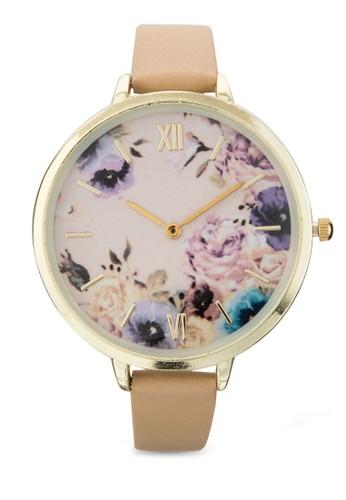印花仿esprit香港門市皮圓框手錶, 錶類, 休閒型
