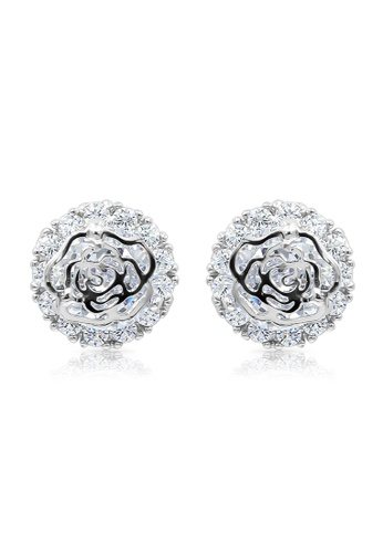 SO SEOUL silver Camellia Flower Diamond Simulant Stud Earrings 0D8EFAC88C9F9CGS_1