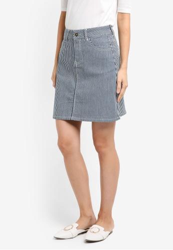 ZALORA navy Striped High Waist Skirt 1C5AAAAE5EC1ECGS_1