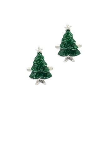 Glamorousky silver Fashion and Elegant Green Christmas Tree Cufflinks 31823ACB0C9E72GS_1