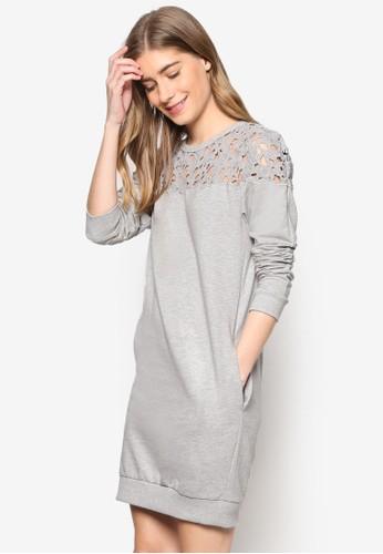蕾絲拼肩esprit台灣長袖衫連身裙, 服飾, 洋裝