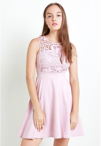 Leline Style pink Reese Crochet Dress LE802AA11LRGSG_1