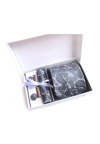 Kings Collection silver Silver Tie, Pocket Square, Cufflinks, Tie Clip 4 Pieces Gift Set (KCBT2154) ACA33AC92B9FC1GS_1