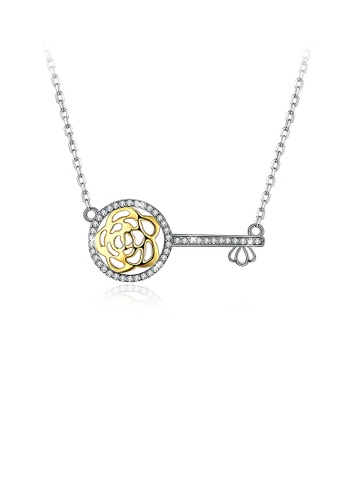 Glamorousky white 925 Sterling Silver Key Necklace with Austrian Element Crystal and Necklace 51C63AC1650677GS_1