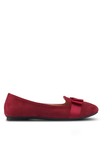 Noveni red Round Toe Flats With Bow 4A4B7SH6389E94GS_1