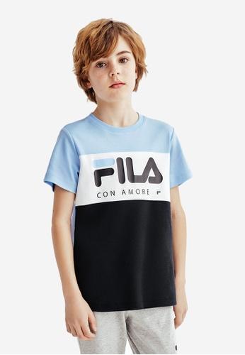 FILA blue FILA KIDS FILA Logo Colour Blocks Cotton T-shirt 8-15yrs 49024KA992F190GS_1
