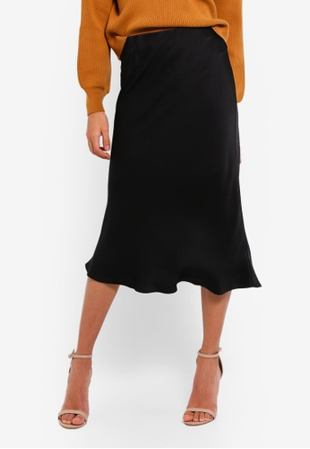 River Island black Satin Midi Skirt 759EEAA27FE7D9GS_1