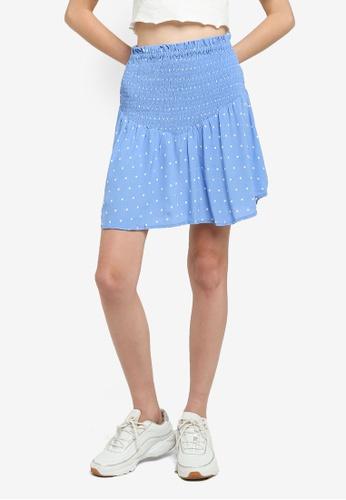 Cotton On blue Selma Shirred Mini Skirt 499D9AAFBFEB0AGS_1