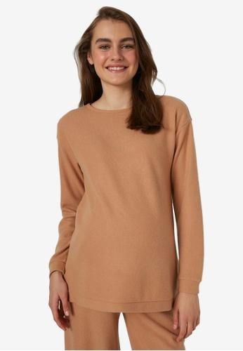 LC WAIKIKI brown Maternity Plain Long Sleeve Tunic Top F258AAA10EF58BGS_1