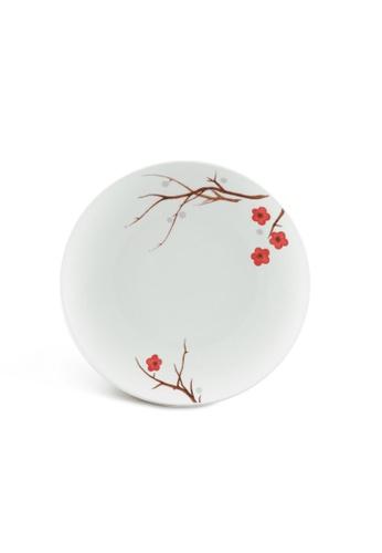 Minh Long I white Pink Ochna: Porcelain Flat Round Plate (22cm) CFB4DHLC797C09GS_1