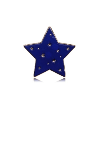 Glamorousky silver Simple and Fashion Plated Gold Blue Star Brooch 2EB41AC68007BEGS_1