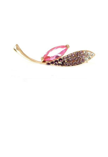 Glamorousky silver Elegant Brooch with Pink and Purple Austrian Element Crystal BCAE8ACEDBFB69GS_1