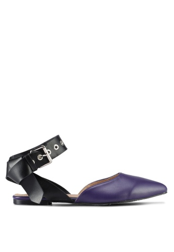 Something Borrowed black and purple Buckle Detail Flats 0A397SH079F025GS_1
