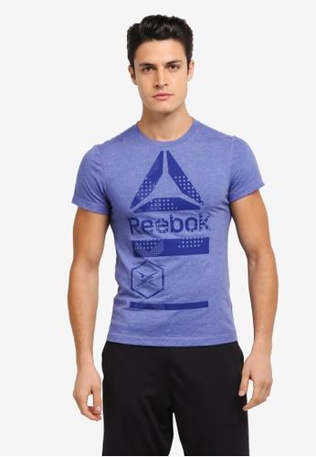 Reebok 海軍藍色 Speedwick Blend Graphic Tee RE691AA0SJSCMY_1
