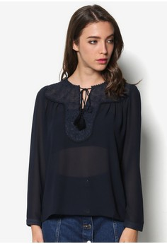 Chiffon Blouse with Shoulder Yoke