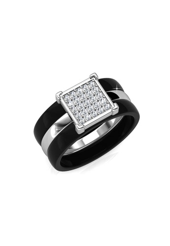 Her Jewellery black and silver Swarovski® Crystals - Square Ceramic Ring (Black) HE581AC0RAE4MY_1