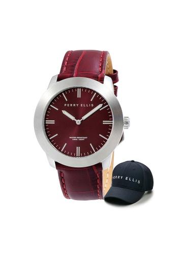 Perry Ellis red Perry Ellis Slim Line Unisex 42mm Quartz Watch 07004-01 with Perry Ellis Cap 96724AC28D5C11GS_1
