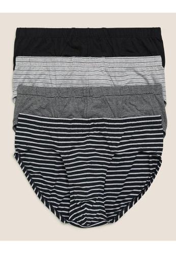MARKS & SPENCER black M&S 4pk Pure Cotton Cool & Fresh Slips 19E6BUS2BEA852GS_1