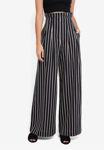 TOPSHOP navy Stripe Wide Leg Trousers FD1C4AAAC0AB07GS_1