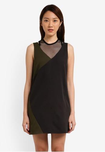 Something Borrowed black and green Mesh Panel Sleeveless Shift Dress 0B610AA580983CGS_1