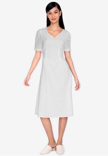 ZALORA BASICS white Eyelet Sweetheart Neckline Midi Dress 24DD2AAE7CAC01GS_1