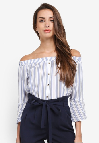 69ed0b4f3f0 Miss Selfridge multi Stripe Button Front Bardot Top 0C5E1AA58802C8GS_1