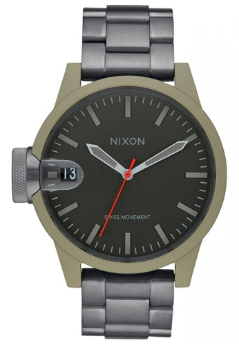 Nixon grey and green Nixon - Chronicle 44 - Sage/Gunmetal NI855AC11SVWSG_1