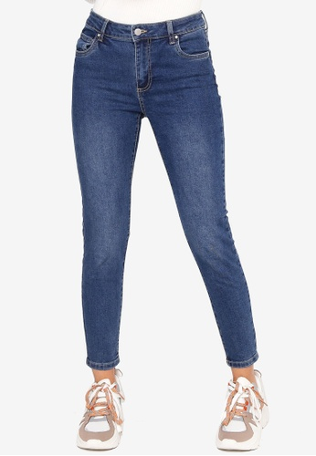 Cotton On blue Mid Rise Cropped Skinny Jeans A669CAAD79FDA8GS_1