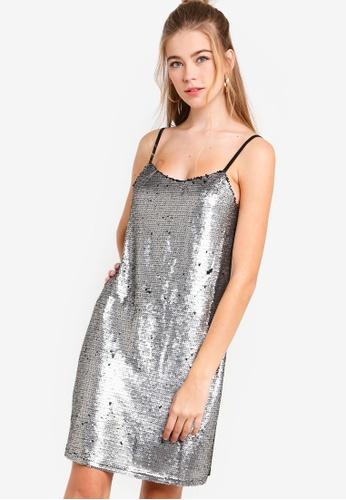 Something Borrowed silver Sequin Slip Dress 06FA9AAA7D202FGS_1