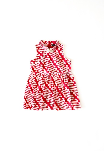 YeoMama Batik red Red Pom Batik Cheongsam Dress F1C61KA0E86145GS_1