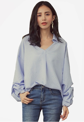 Kodz blue High-Low Ruched Sleeve Top 7D68BAA216CA30GS_1