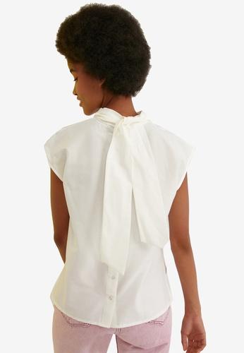 Trendyol white Sash Detail Button Back Top 4B543AABD1442BGS_1