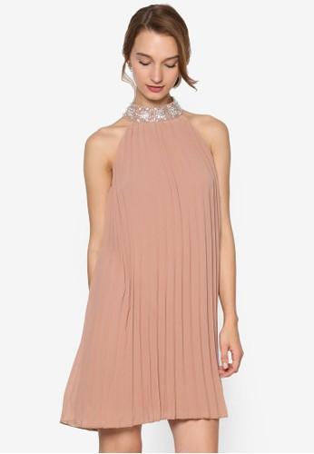 Mireille 閃飾高圓領褶飾直esprit 折扣筒連身裙, 服飾, 服飾