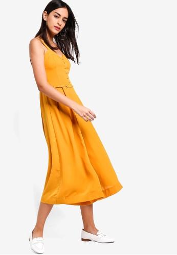 ZALORA yellow Cami Wide Leg Jumpsuit 57D60AA2A41FD9GS_1