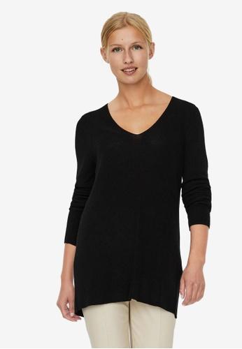 Vero Moda black V-Neck Knitted Pullover 71739AA37CC929GS_1