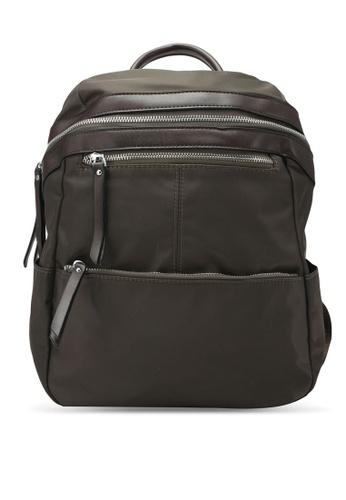 NUVEAU green PU-Trimmed Nylon Backpack NU245AC0S66EMY_1