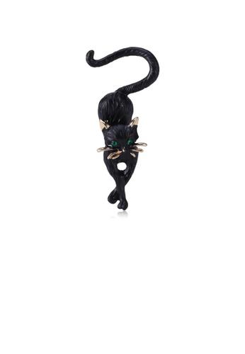 Glamorousky green Fashion Cute Black Cat Brooch with Green Cubic Zirconia 67C78AC33F8943GS_1