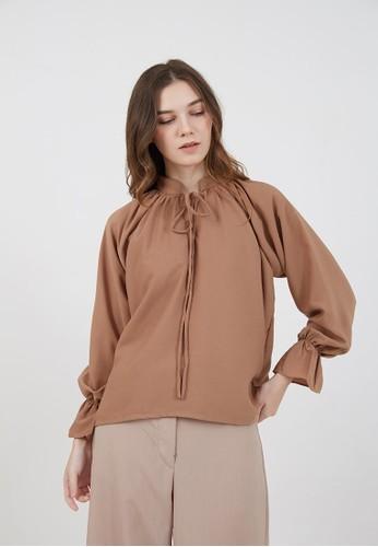 Berrybenka Label brown Sophie Molika Plain Blouse Brown C30F9AA414A60DGS_1
