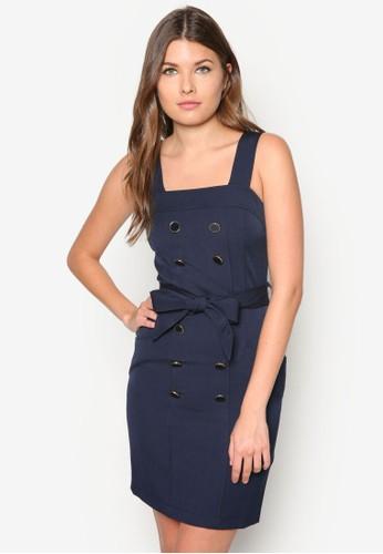 Petizalora taiwan 時尚購物網鞋子te 雙排扣粗肩帶連身裙, 服飾, 洋裝