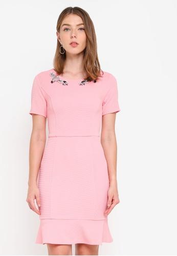 ZALORA pink Front Embellished Fluted Hem Dress 0CDEFAA86A3C8CGS_1