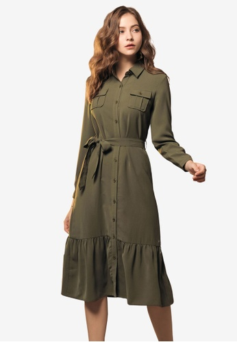 Kodz green Belted Shirt Dress 018F3AAEF48E53GS_1