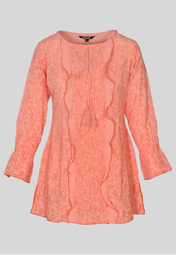 Le Reve pink Le Reve Peach Pink Ruffle Top 7F795AA429AEB1GS_1
