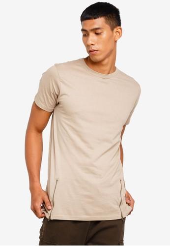 Brave Soul brown Zipper Long Line T-Shirt 12E55AA548D414GS_1