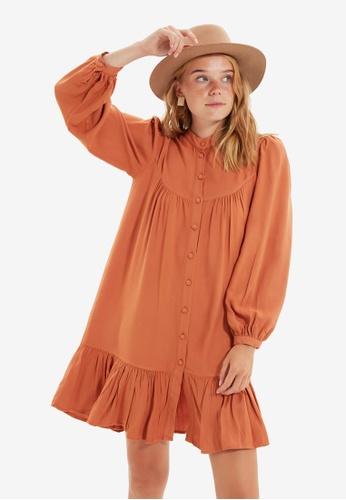 Trendyol brown Wide Cut Shirt Dress 39E0CAAD8551D0GS_1
